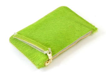 Green Hair On Hide Leather Zip Pouch Purse Wallet Handmade