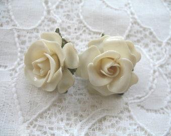 Vintage Plastic Flower Earrings ~ Cream Celluloid Roses ~ Clip On