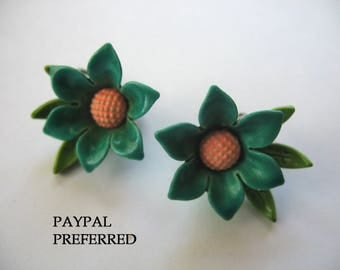 Vintage Enamel Flower Earrings ~ Green ~ Clip On