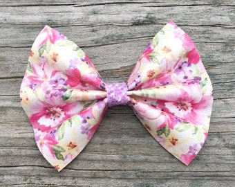 Pink Floral Hair Bow, Leather Bows, Pink and Purple Flower Hair Bow, Glitter Bows, Girls Leather Bows, Spring Floral Bow, Flower Bows