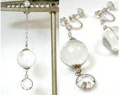 Antique POOLS of LIGHT Flapper Earrings, 1920s Wedding Quartz Rhinestone Dangle Rock Crystal Bridal Art Deco Drop Long STERLING Silver 1930