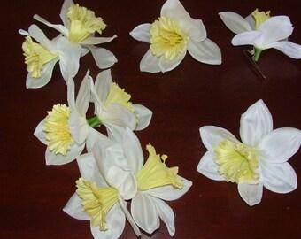 White Yellow Daffodil Flower Hair Clips Hawaiian Tiki Tropical Barrette