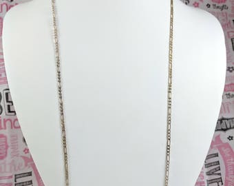 """Sterling Silver Figaro Chain 30 inch Figaro 2mm Figaro Style Chain Long Thin Chain 30"""" 2 mm 5.16 Gr Lobster Clasp Basic or Add Pendant"""