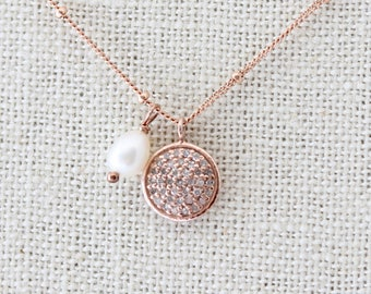 Delicate Diamond Pave Necklace, Rose Gold, Diamond Pave Necklace, Genuine Diamond Pave Disc, Rose Gold Necklace, Small Disc Pendant
