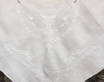 Vintage White  Linen Embroidered Tablecloth, Square, wedding tablecloth