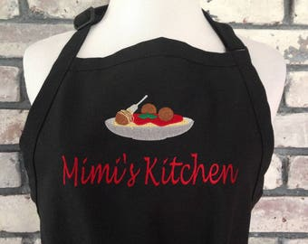 Personalized Pasta and Meatballs Apron - Custom Apron with Spaghetti and Personalization