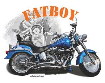 "HARLEY ""Fatboy"" MOTORCYCLE T-Shirt"