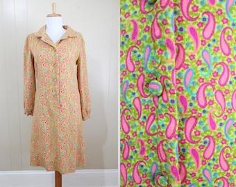 Paisley Dress Vintage Psychedelic 1970s Neon Hippie Shift Halloween Medium