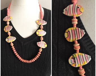 Wooden Fish Statement Necklace // Yellow and Pink Wooden Beaded Necklace