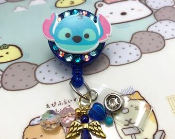 Lilo and Stitch Dangle Beaded Charm Face Crystal Rhinestone Badge Reel Retractable Disney ID Holder Nurse CNA RN Technician Alligator Clip