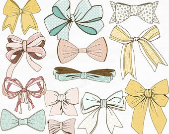 Bow Clip Art, Baby Shower Images, Ribbon Digital Graphics, Tied Pink Bow, Printable Bow ClipArt, Illustration Digital Download, Wispy
