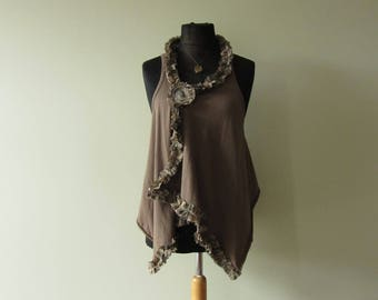 RESERVED Shabby Chic Ruffle Vest WITH Necklace and Brooch, Upcycled T Shirt, Mori Girl Clothing, Refashioned Women's Tops, Loose Summer Vest
