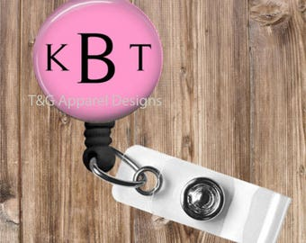 Personalized Monogrammed No Twist Retractable Badge Reel Badge Holder Great Gift for Teacher,Nurse,Office