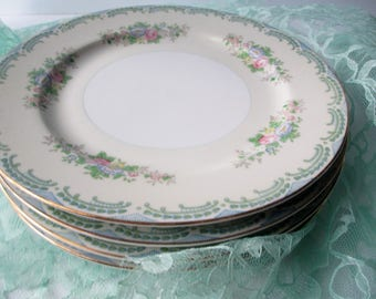 Vintage Dinner Plates Meito Floral Blue Pink Hand Painted Set of Four
