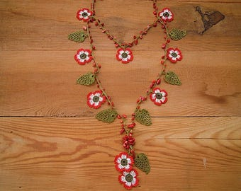 red white flower necklace, turkish oya necklace, crochet
