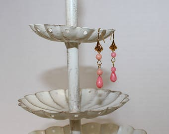 Genuine Coral Drop Earrings, Gold-Filled Earwires, Civil War Appropriate