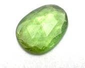 Green Tourmaline Cabochon Rose Cut Watermelon Gemstone One of a Kind Faceted Handmade Handcut Ring Stone