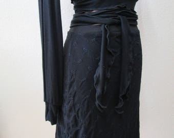 Black color lace knee length skirt or tube dress plus made in USA  ( v53)