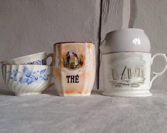 Vintage French Coffee & Tea Cups, Ceramic Pots White Blue Ceramic Decorative Kitchenalia Home Decor French Chic 5pc