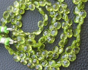 8 Inch Strand, Gorgeous Quality PERIDOT Faceted Heart Shaped Briolettes, 6-7mm Long size,GORGEOUS