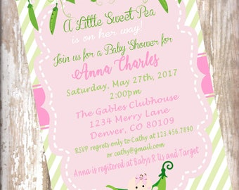 Sweet Pea Baby Shower, Pink And Green Shower Invitation, 15 Invitations Sweet  Pea Invitation