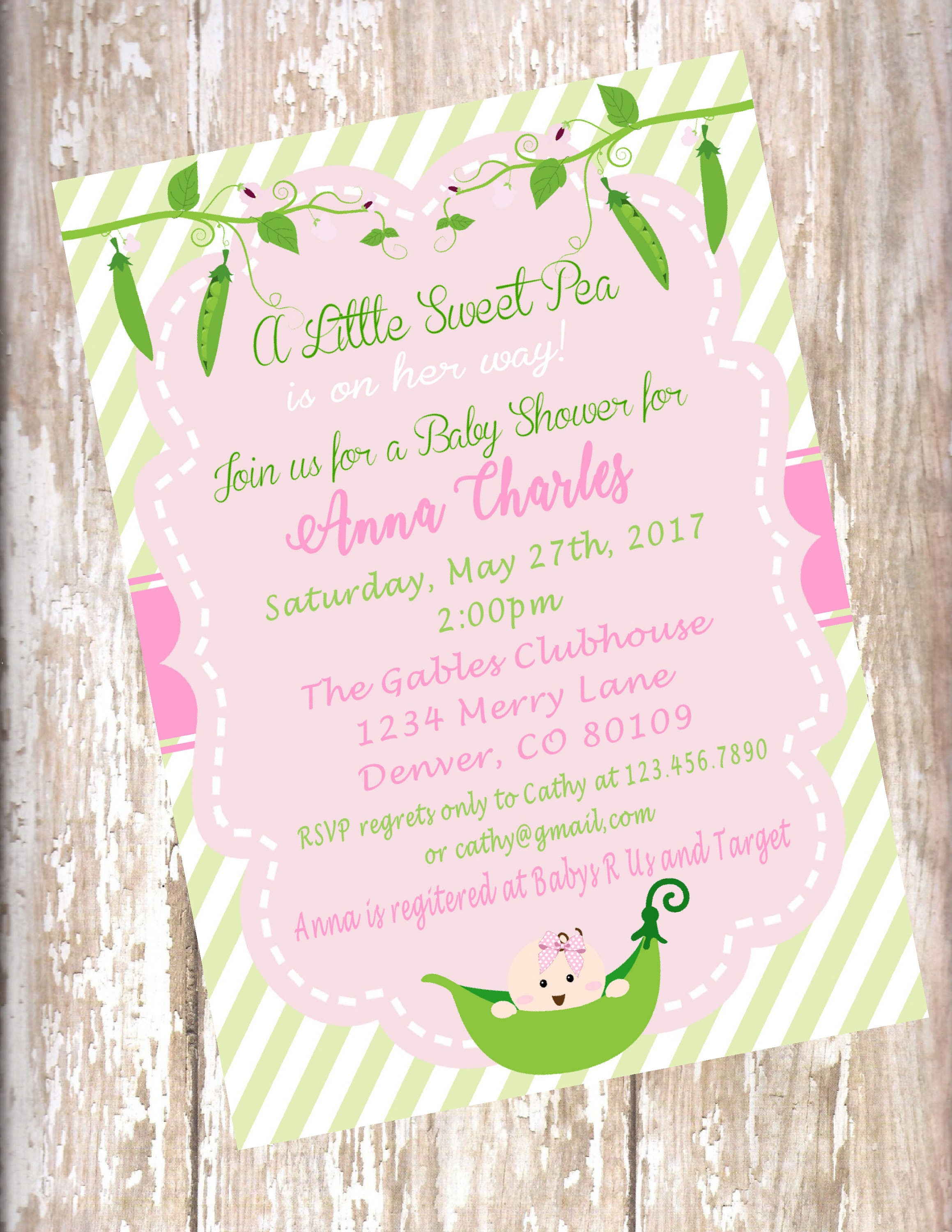 Sweet Pea baby shower pink and green shower invitation 15