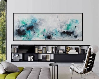original abstract seascape painting large blue white grey painting modern minimalist wall art 'lady of the lake'
