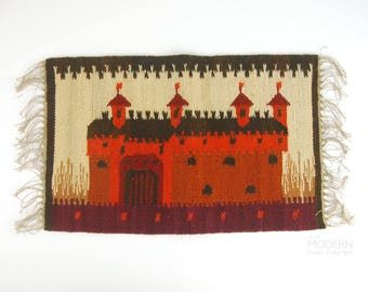 Polish Kilim Castle Fort Small Wall Hanging Tapestry Rug