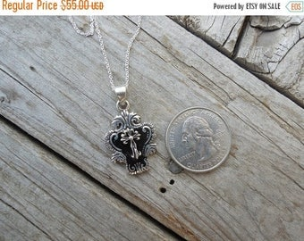 ON SALE Medieval sterling silver enameled cross necklace