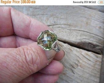 ON SALE Gorgeous green amethyst ring handmade in sterling silver 925