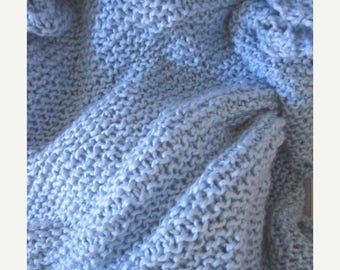 Christmas in July Price reduction Knit organic baby blanket, cotton baby blanket  (blue)
