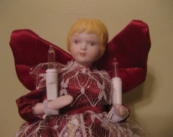 Pretty Angel Lighted Vintage Christmas Tree Topper