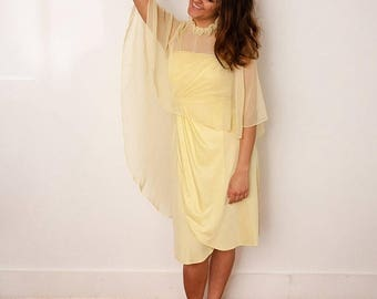 christmas in july sale Vintage Yellow Dress and Cape - Pale Yellow Two-Piece Set - Vtg 1960s Party Dress - Dress with Shawl -Size Small - Gi