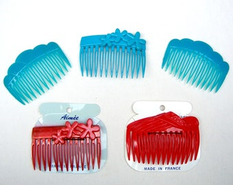 5 vintage hair combs Karina 1980s hair accessory decorative comb hair pin hair pick hair barrette (ABR)