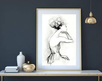 Female figure drawing, Black & White art print, Elegant art poster, fashion print, figure woman, bride, wedding dress, shoulders, long neck