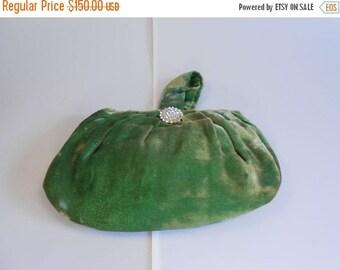 Anniversary Sale 35% Off Speakeasy Nights - Vintage 1930s Grass Green Silk Velvet Mini Clutch Handbag w/Pave Clasp