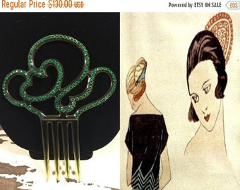 Anniversary Sale 35% Off Ma Blonde Est Partie - Vintage 1920s Art Deco Amber Celluloid Plastic Spanish Hair Comb Bejeweled in Green