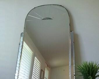 RESERVED Art Deco Mirror, Vanity Mirror, Light Cobalt Blue, Etched  Glass Mirror