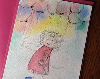 Katie Balloon  Angel Watercolor Gift or Note Card