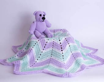 Crochet Baby Blanket, Merry-Go-Round Blanket and Teddy Bear, Baby Afghan