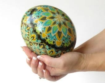 Ostrich egg Pysanka by Katya Trischuk in traditional Ukrainian pattern with Blue Green and yellow