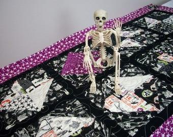 Halloween Table Runner Quilted FREE US Shipping Quiltsy Handmade Skeleton Skull Crossbones Black Orange Purple