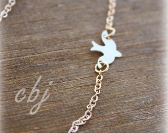 Dove Necklace, Swallow, Gold Dove, Swallow charm, Dove Charm, Minimal Necklace
