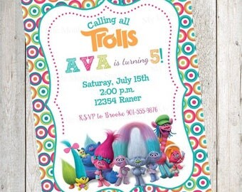 10 Trolls Birthday Invitations with Envelopes.  Free Return Address Labels