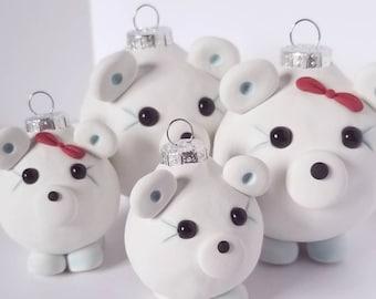 Polar Bear Family Christmas Ornaments, set of FOUR, FREE SHIPPING