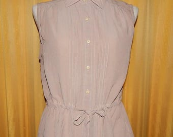 70% ON SALE Taupe Pleated Sheer Sleeveless Top Blouse Bust 40