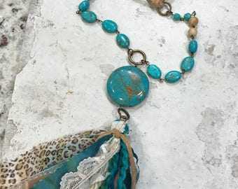 Leather turquoise Leopard tassel necklace, southwestern necklace, western glam, boho, bohemian jewelry, tassel necklace