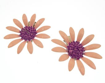 Enamel Flower Clip On Earrings, Peach Daisy with Purple Centers, Retro Earrings, 1970's, Large Clip Ons, Costume Jewelry, DIY Bridal Bouquet