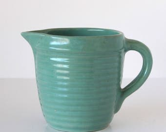 Vintage USA Green Pottery Pitcher