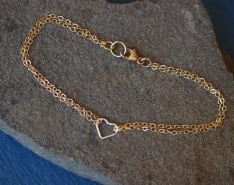 Dainty Heart Link Bracelet